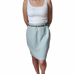 Vintage Steinman Germany Green Gingham skirt